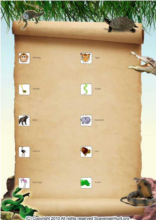 Preschool Zoo Animal Scavenger Hunt