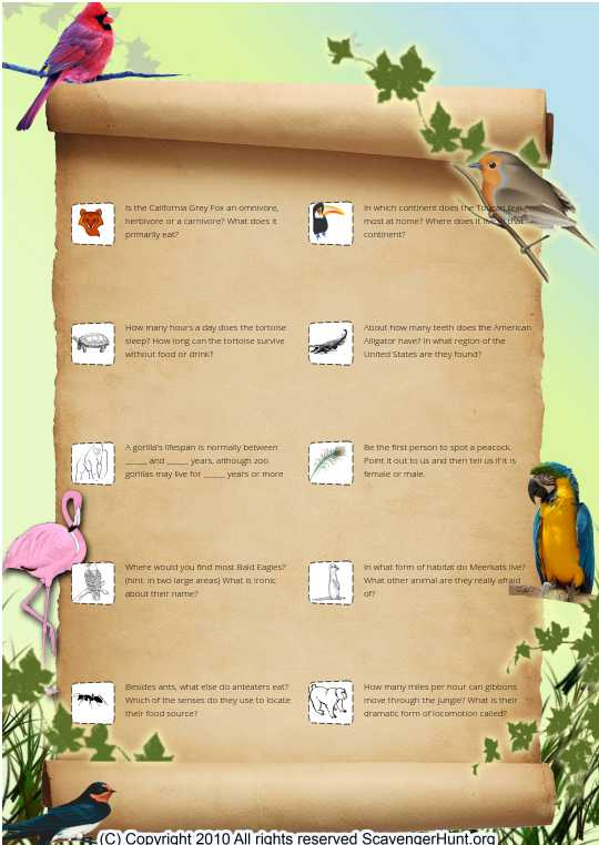 Zoo animals: facts scavenger hunt (p.2)