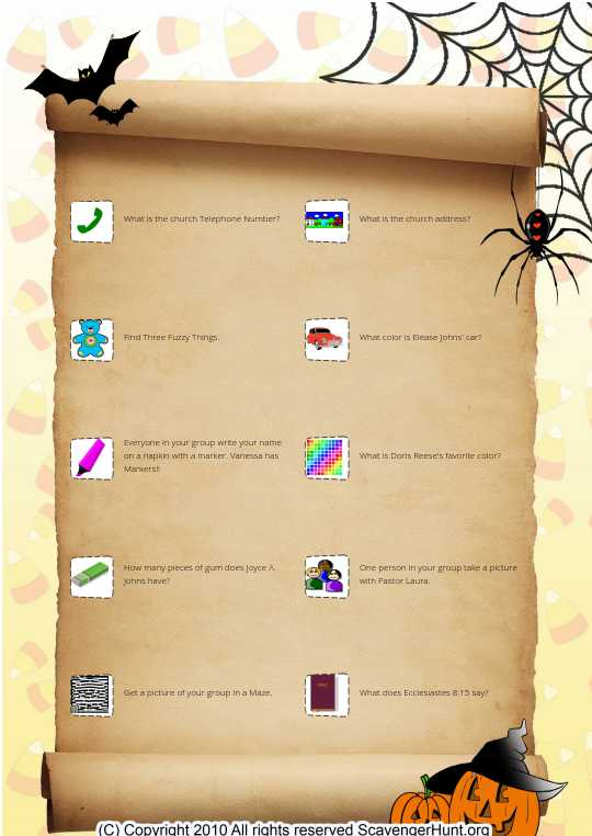 Fall Festival Scavenger hunt
