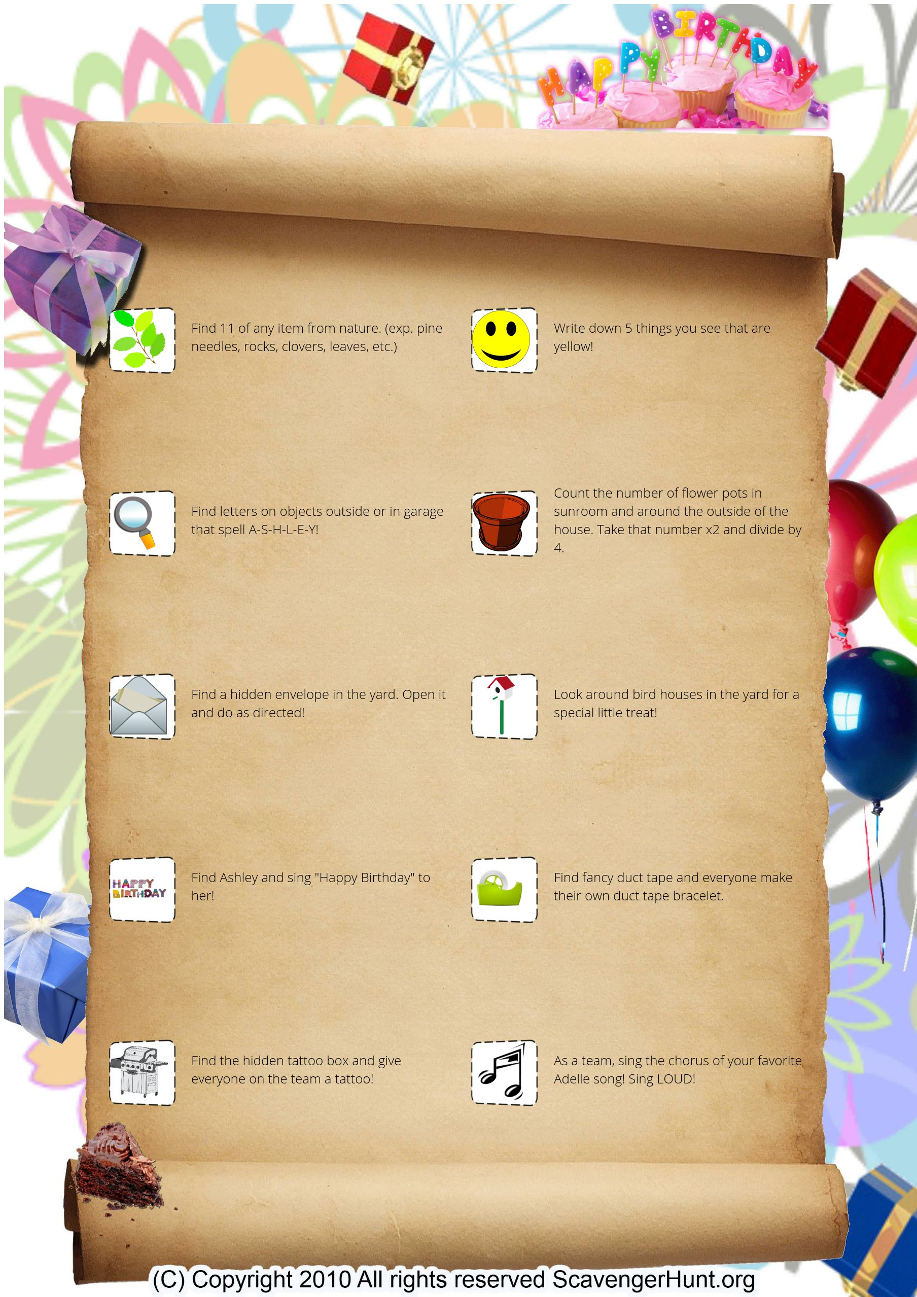 treasure hunt and scavenger hunt games collection exercises